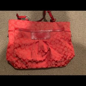 Red/coral coach shoulder bag